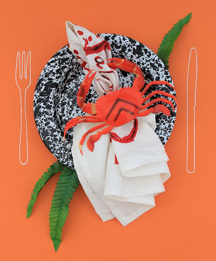 Orange you crabby today! Featuring Louise Bourgeois x Third Drawer Down Studio Tea Towel and enamelware plate.