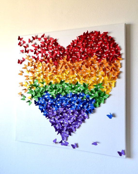 3D Butterfly Heart Rainbow Colors/ Butterfly Heart Art - MADE TO ORDER, LARGE    Hundreds of 1 butterflies come together in flight to form a heart in