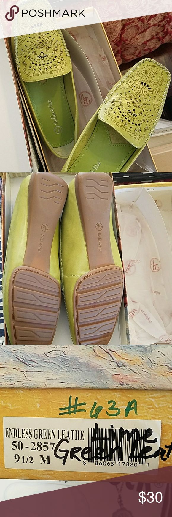 Bella Vita Green Leather Loafers Green leather loafers by Bella Vita, great condition Bella Vita Shoes Flats & Loafers