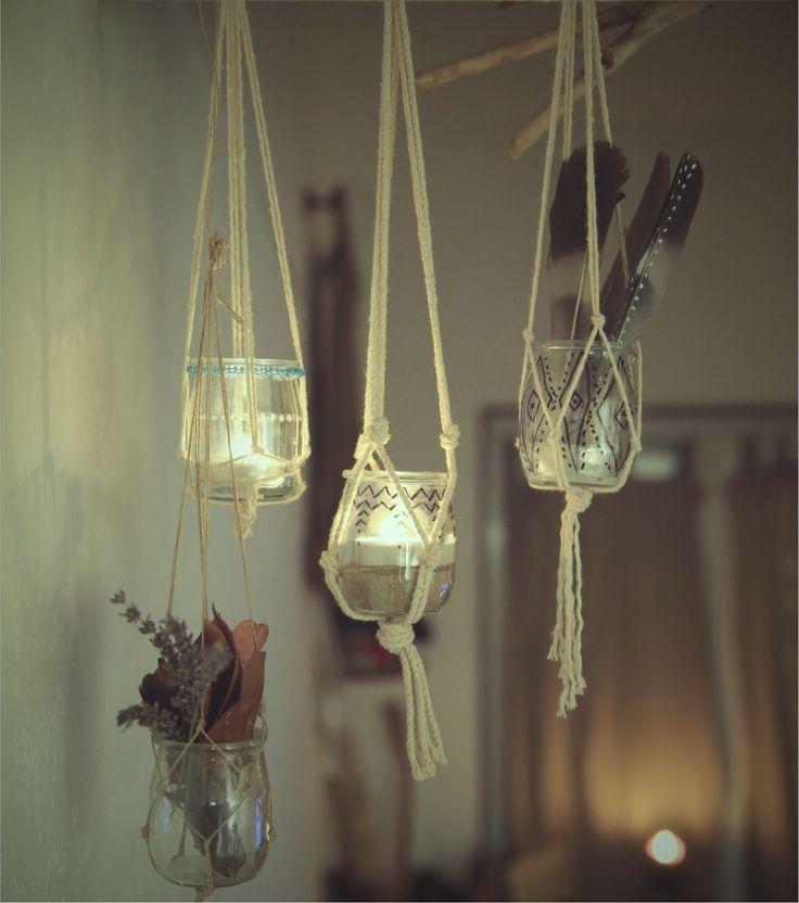 macram s bougies plumes et feuilles diy avec des petits. Black Bedroom Furniture Sets. Home Design Ideas