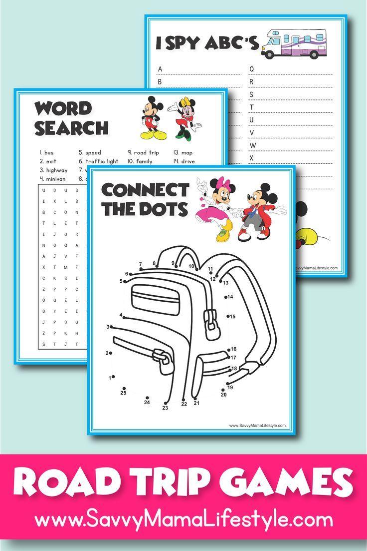 Print these FREE Disney Road Trip Games! Perfect for prek