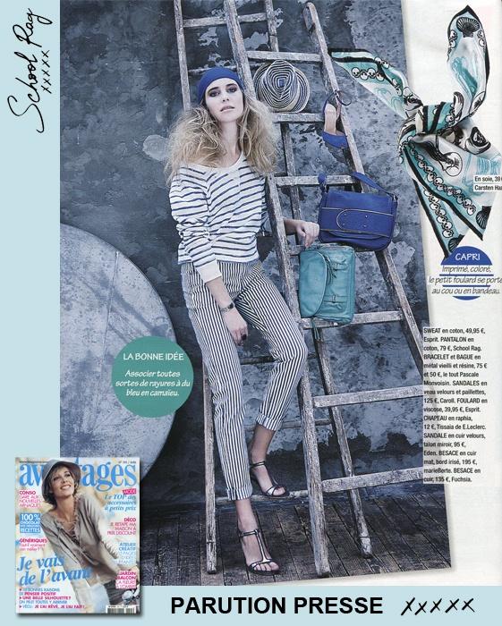 Dans le dernier Avantages : notre pantalon « Pearl 7/8 » #SCHOOLRAG #Bleu #Stripes [Avril 2013]