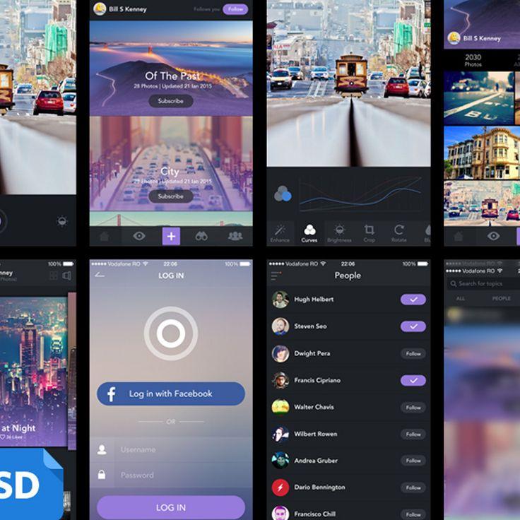 Flat Style iOS Photo Gallery App UI PSD