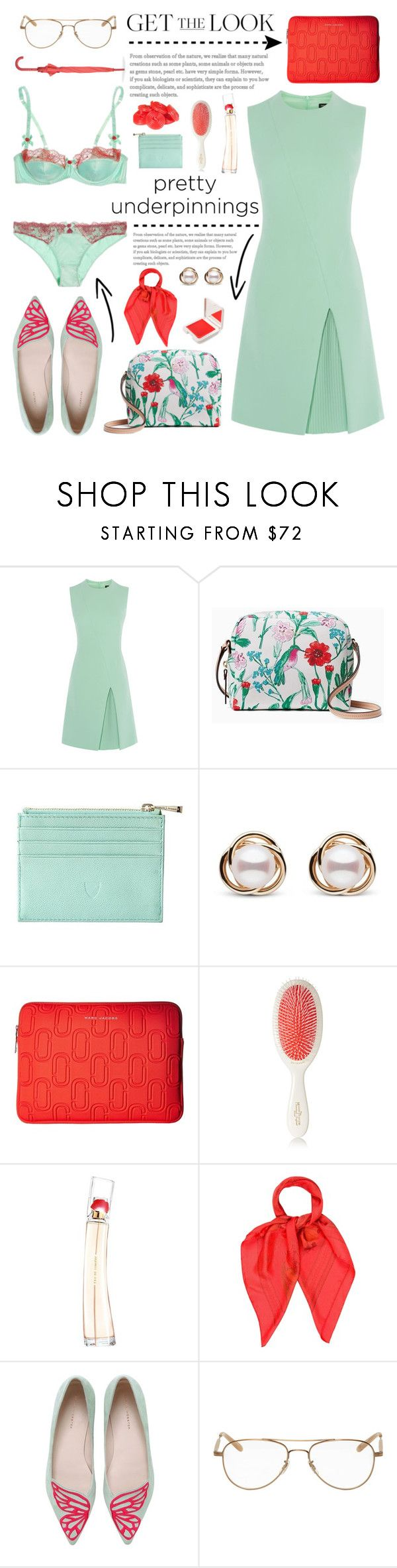 """The Prettiest Underpinnings"" by glamorous09 ❤ liked on Polyvore featuring Kate Spade, Aspinal of London, Trilogy, Marc Jacobs, Mason Pearson, Kenzo, Hermès, Sophia Webster, Garrett Leight and LEXON"