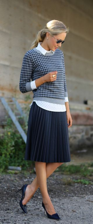 Mary Orton is wearing a Charley sweater in houndstooth from J. Crew