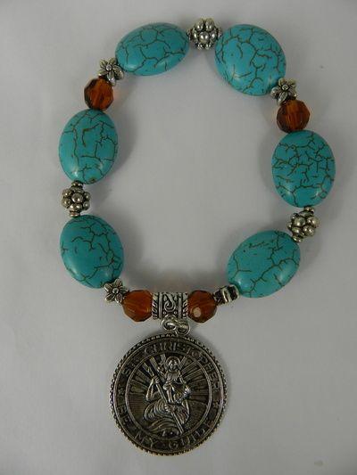St Christopher Medal Turquoise Magnesite Crystal Stretch Bracelet Handmade