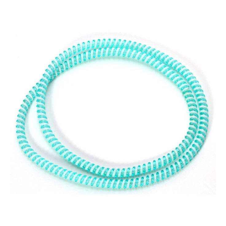 Spiral Cord Protector - 2-Tone White / Turquoise