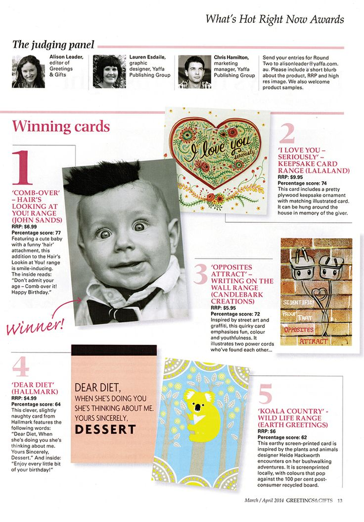 La La Land's 'I Love You - Seriously' Keepsake Card made it into the top 10 of Greetings & Gifts magazine's 'What's Hot Right Now' Awards! Pick up the card at lalalandshop.com.au