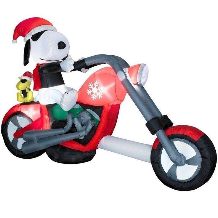 Inflatable peanuts snoopy santa riding on chopper