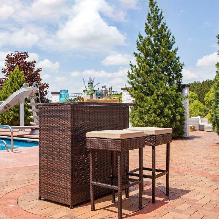 Sunnydaze Melindi 3 Piece Wicker Rattan Outdoor Patio Bar Set with Tan Cushions, Brown, Patio Furniture (Glass)