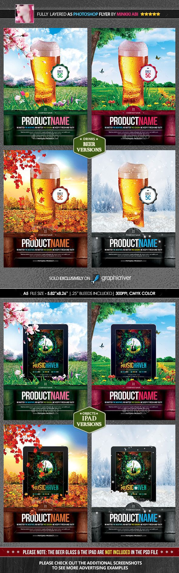 4 Seasons Product Promotion Poster/Flyer — Photoshop PSD #tablet #bottles • Available here → https://graphicriver.net/item/4-seasons-product-promotion-posterflyer/7790542?ref=pxcr
