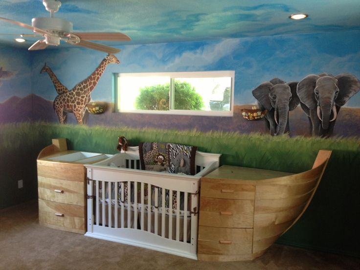 Noah's arc themed baby room.