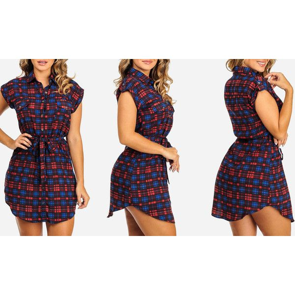 Women's ModaXpressOnline.com Plaid Sleeveless Shirt Dresses with... ($20) ❤ liked on Polyvore featuring dresses, blue, button shirt dress, blue sleeveless dress, tartan shirt dress, blue plaid dress and shirt dresses