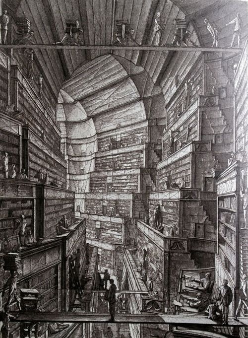 Erik Desmazières,The Library of Babel    blanddiva11  bookporn  ARB. duh. Library.