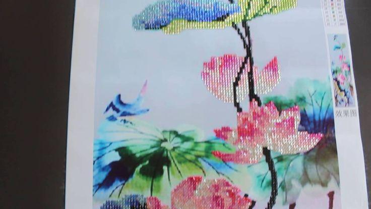 Lotus Flowers-Diamond Painting/Lotus Çiçekleri Elmas Taşlı Mozaik Tablo