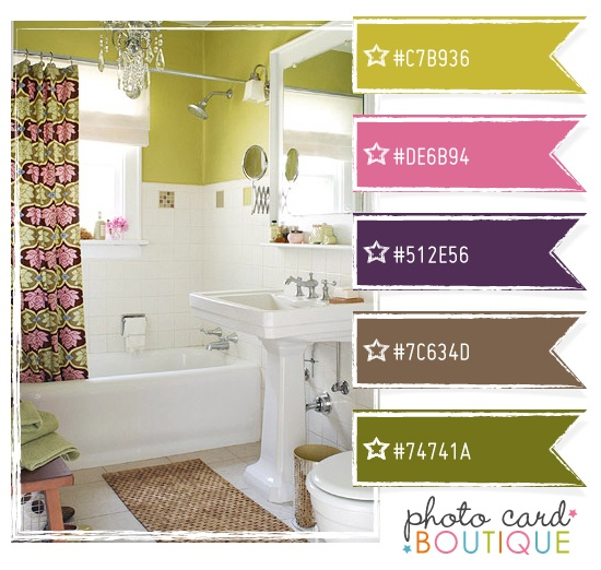 Lime green, purple, pink and brown