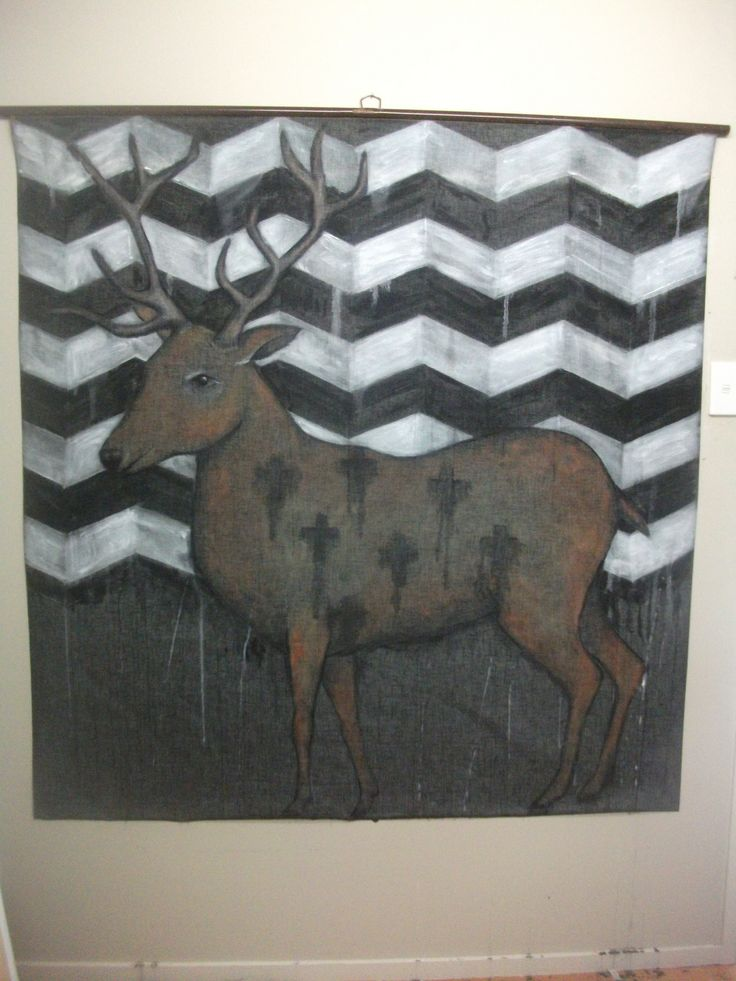Large stag painting on re-cycled vintage projector screen by Lyndy Wilson