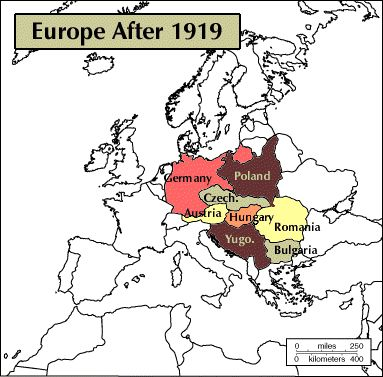 map of europe after treaty of versailles europe gained new nations such as czechoslovakia poland and yugoslavia find this pin and more on world war 1