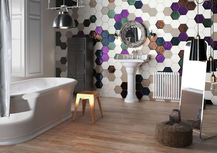 The uneven surface and glossy glaze of these hexagonal tiles give a truly handcrafted look. Walls and floors can be customised by combining a large range of colours to suit any interior design scheme