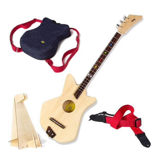 Kids Acoustic guitar starter kit. The kit features a stand, backpack, strap,3 string acoustic Loog Guitar with instructional App. Learn guitar the easy way!