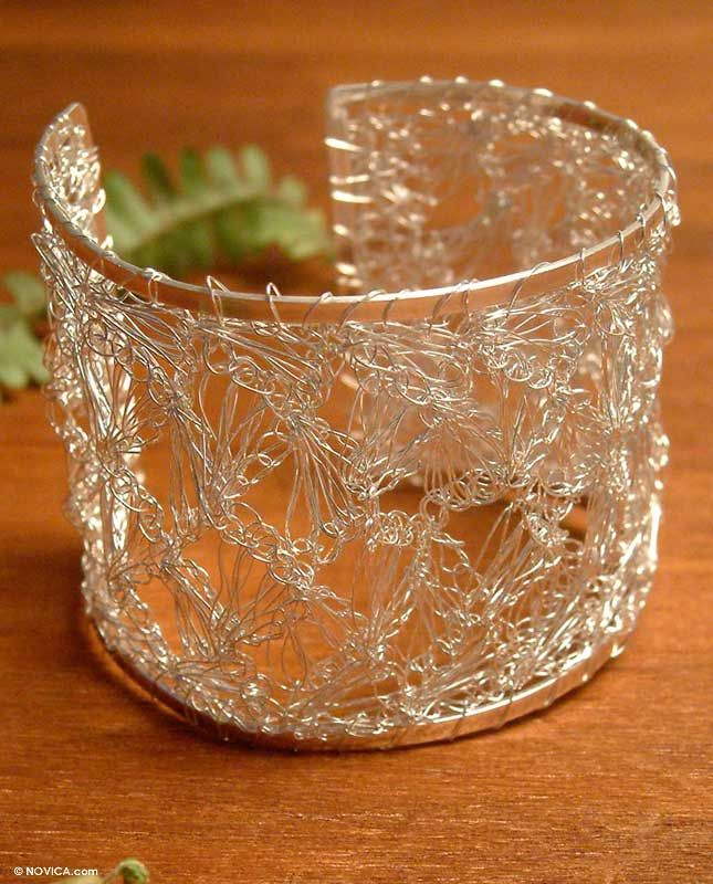 silver cuff wire crochet bracelet