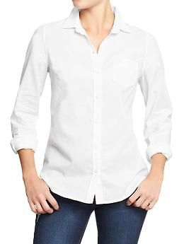 Womens Oxford Shirts- I got three of these (white, blue and salmon) for about $25 each. They look good tied or worn with skinny jeans or denim shorts. I was hoping I could wear them tucked in, but they're not quite fitted enough for that. (I also may have gotten a size too big.)