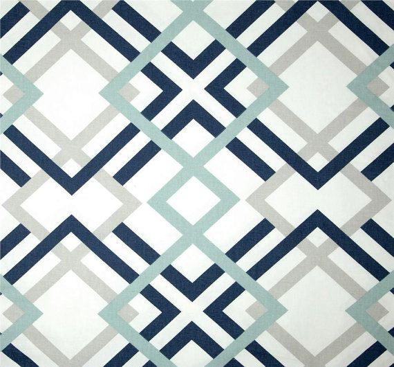 Navy Grey & Aqua Designer Home Decor Fabric by the Yard Cotton Drapery or Upholstery Fabric Contemporary Geometric Navy and Grey Fabric B174