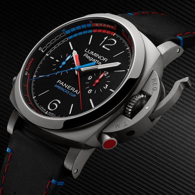 The excellence and uniqueness of Panerai mechanics are embodied in the new Luminor 1950 Regatta ORACLE TEAM USA 3 Days Chrono Flyback Automatic Titanio PAM726, especially created for ORACLE TEAM USA, with the regatta countdown function for accurately displaying the starting times of a race. #panerai #pam726