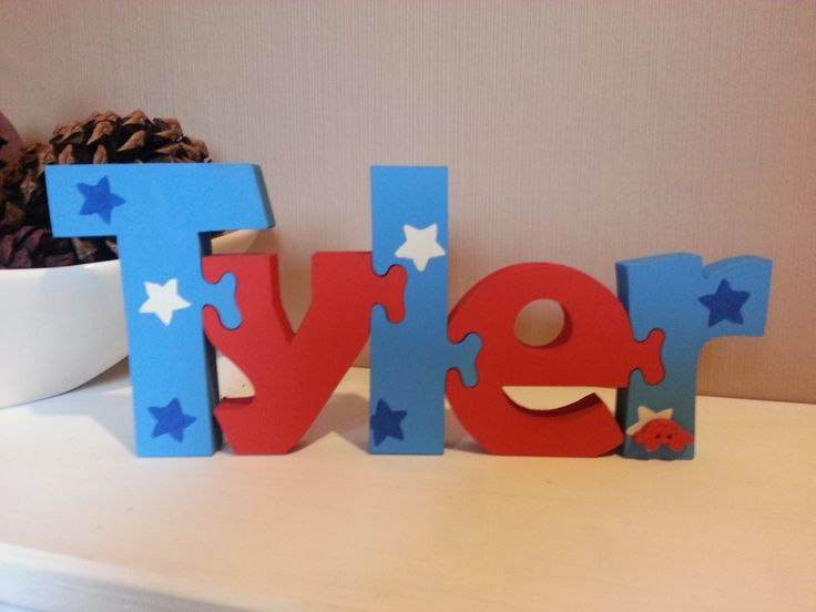 blue and red with stars  £2.75 per letter