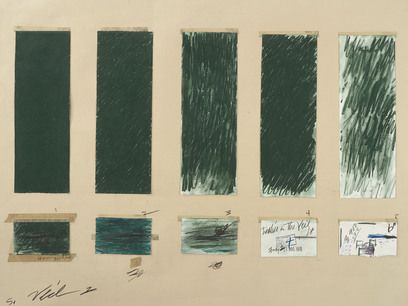 Cy Twombly, Untitled, 1970, Crayon, graphite pencil, ink, tape, and cut and torn paper on colored paper (The Menil Collection, Houston)