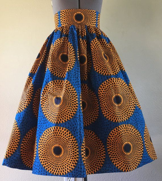 Beautiful African Wax Print High Waisted Skirt Fit by WithFlare