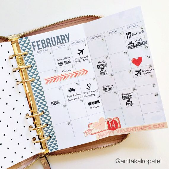 personal size monthly foldout planner insert by plan2create