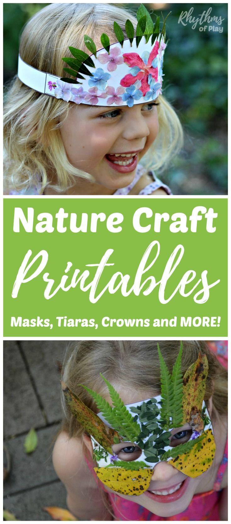 Nature Masks Tiaras Crowns and More! Kids will love how easy it is to create nature arts and crafts with these fun printables. Get outside, explore nature, engage the senses, and use the fine motor muscles to create wearable art. A hands-on learning punch hard to beat! Perfect for forest school or a nature study unit.