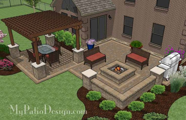Large Backyard Patio Design With Pergola Built In Fire