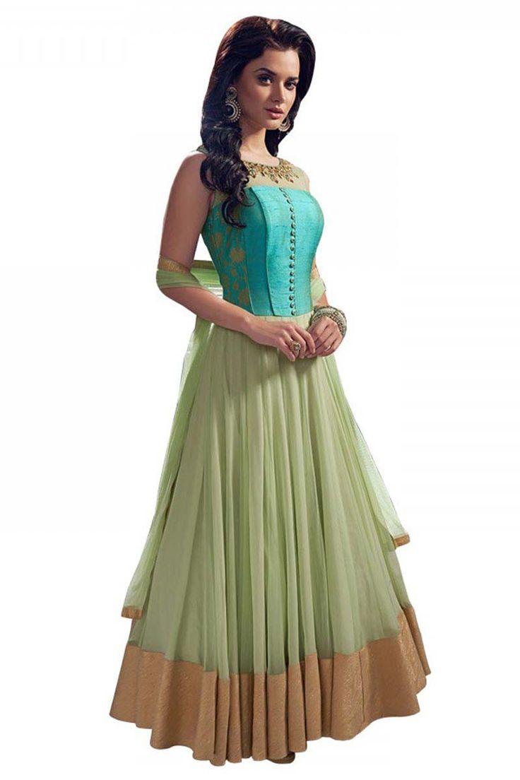 Blue Georgette Anarkali Salwar Kameez   Women Salwar Kameez Online Shopping India on Variation