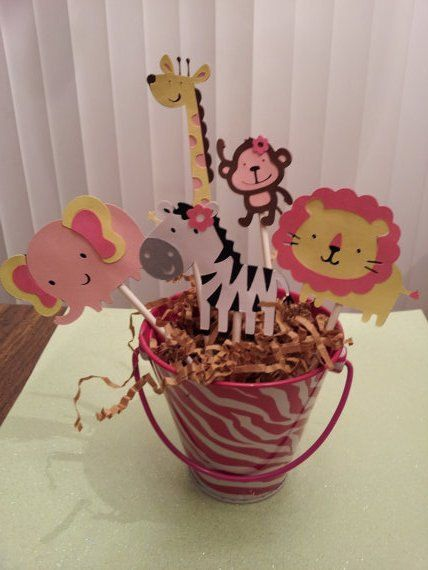 12 Safari, jungle or zoo cupcake picks/toppers for girl. $8.99, via Etsy.