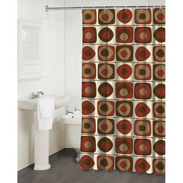 Famous Home Fashions Vintage Squares Garnet Shower Curtain Shoppingyahoo