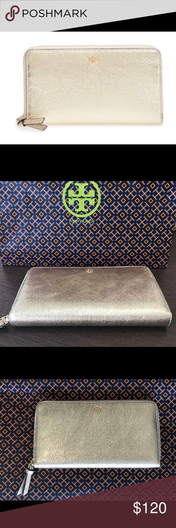 """Tory Burch Zip Continental Wallet Tory Burch crinkle metallic zip continental wallet Color is spark gold 7.5"""" x 4.25"""" New with tag Comes with Tory Burch bag and gift receipt Tory Burch Bags Wallets"""