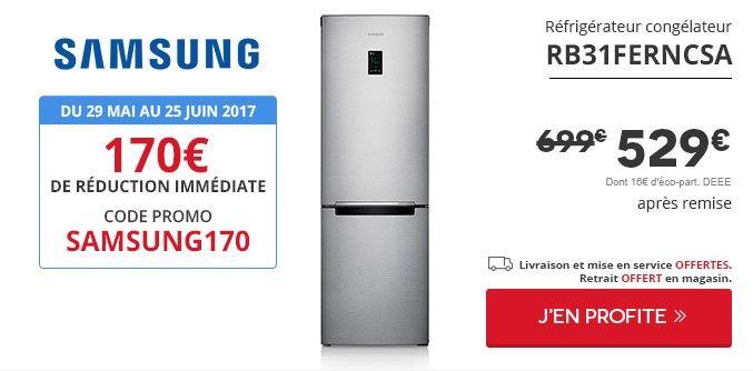 Refrigerateur congelateur en bas Samsung RB31FERNCSA pas cher prix Darty 529,00 € TTC au lieu de 699 €