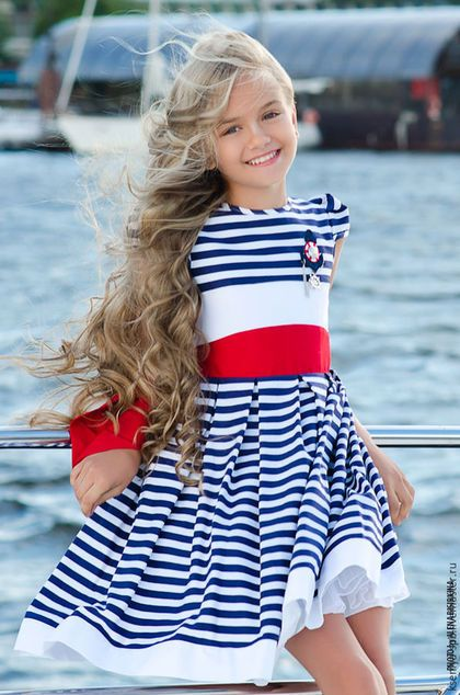 Dress for girl / Одежда для девочек, ручной работы. Ярмарка Мастеров - ручная работа. Купить Платье для девочки летнее, морской стиль - в полоску (65). Handmade.