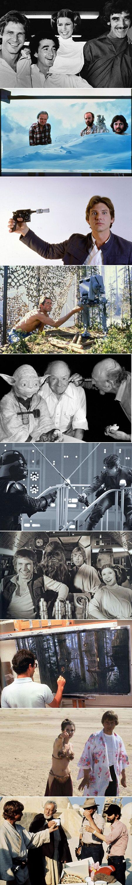 Here are some rare behind-the-scenes Star Wars movie photos.