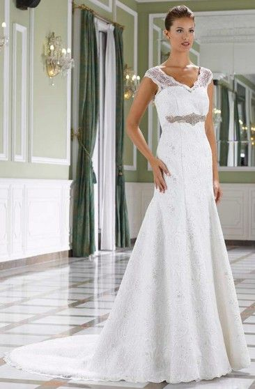 2ce509316 A-Line Cap-Sleeve Jeweled Floor-Length V-Neck Lace Wedding Dress With Court  Train And Low-V Back