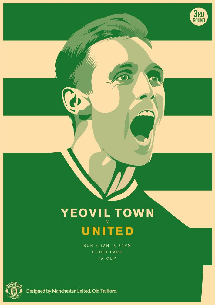 Match poster: Yeovil Town vs Manchester United, 4 January 2015. Designed by @Manchester United.