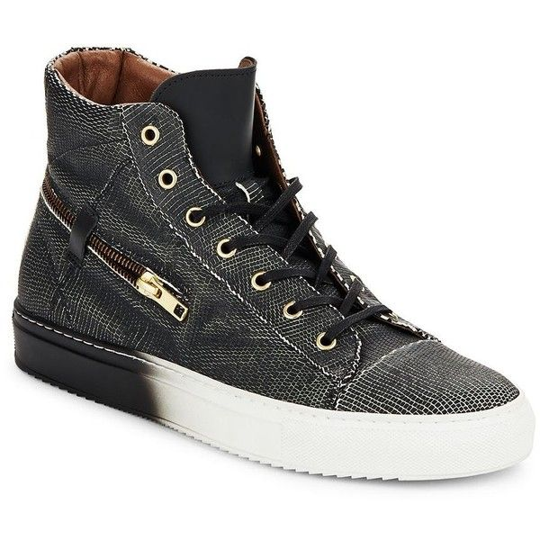 BACCO BUCCI Teo Leather High-Top Sneakers ($160) ❤ liked on Polyvore featuring men's fashion, men's shoes, men's sneakers, mens black sneakers, mens hi tops, mens platform shoes, mens black high tops and mens black dress shoes