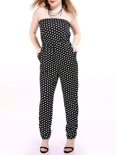 Oversized Alluring Polka Dot Pattern Tube Jumpsuit -- currently on sale (31% off) $29.99