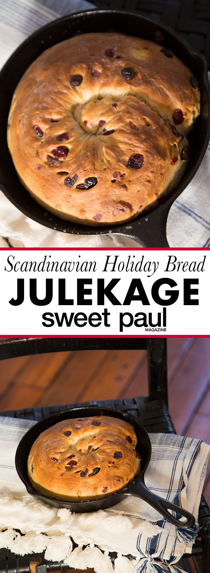 A festive Scandinavian holiday yeast bread with cardamom and dried fruit!