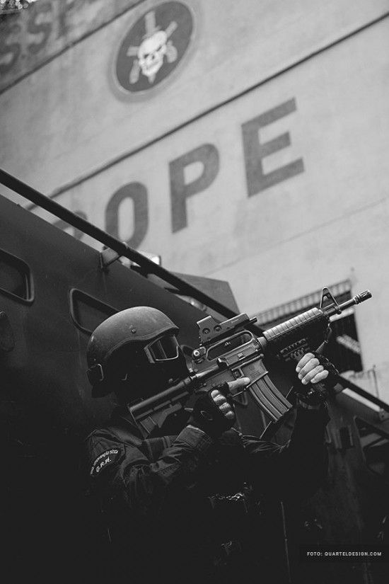 BOPE -  Batalhão de Operações Policiais Especiais (Special Police Operations Battalion) is a special forces unit of the Military Police of Rio de Janeiro State, Brazil. BOPE units have extensive experience in urban warfare as well as progression in confined and restricted environments. It also utilizes equipment deemed more powerful than traditional civilian law enforcement.