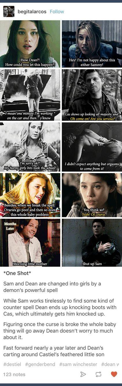Supernatural; genderbend; genderbent; genderswap; rule 63; Deanna Winchester; Samantha Winchester; Dean Winchester; Sam Winchester