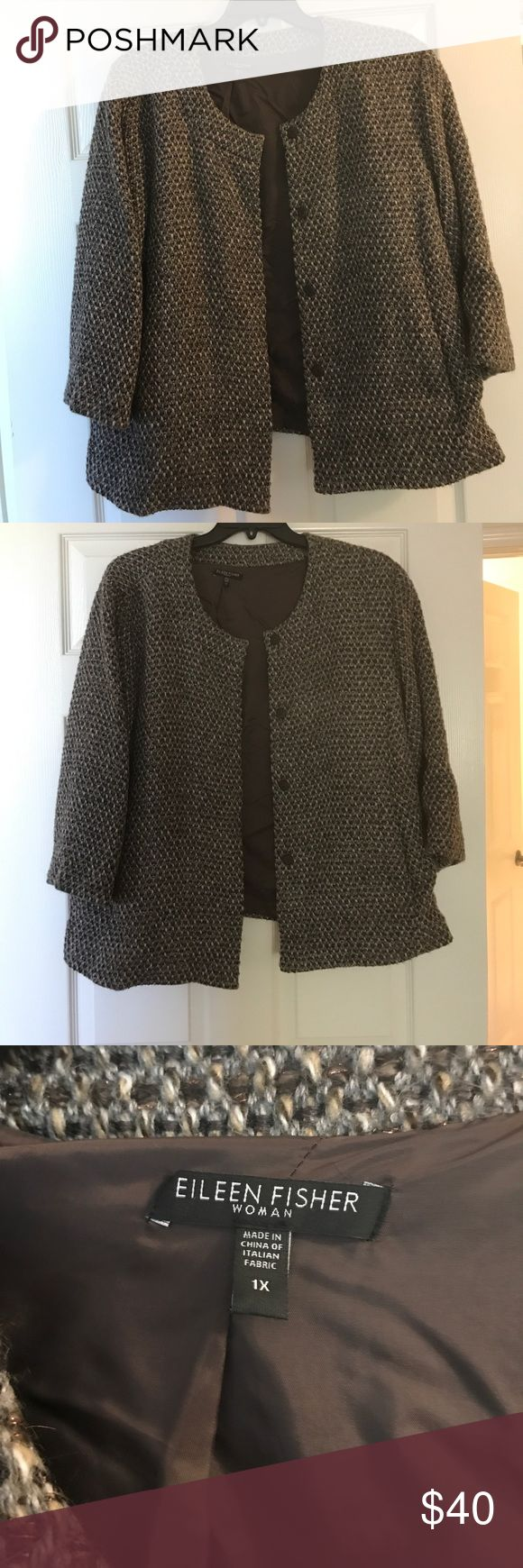 Plus size Eileen Fisher blazer Gorgeous tweed blazer with the classic Eileen Fisher clean lines. Sleeves are above the wrist length. Blazer color is brown and grey with a smattering of brown gold sparkly thread mixed in as shown in photos. Two pockets. Fully lined. Dry clean. Eileen Fisher Jackets & Coats Blazers