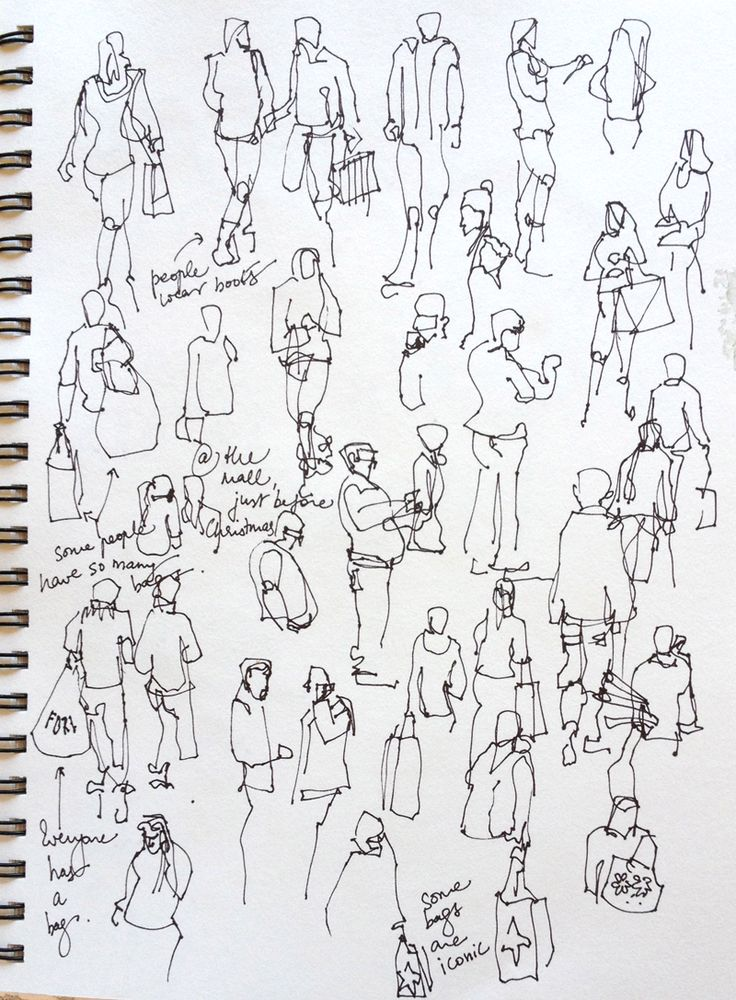 This is drawings of people who were shopping at a mall created by an artist. This is something that I should consider doing within Holidays as I would have to work very fast, but also it would help me understand movement alot more. If these are successful then it could potentially be something that I consider in my work.